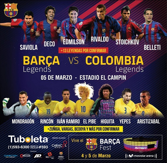 BARCA LEGENDS FC llegan por primera vez a Colombia