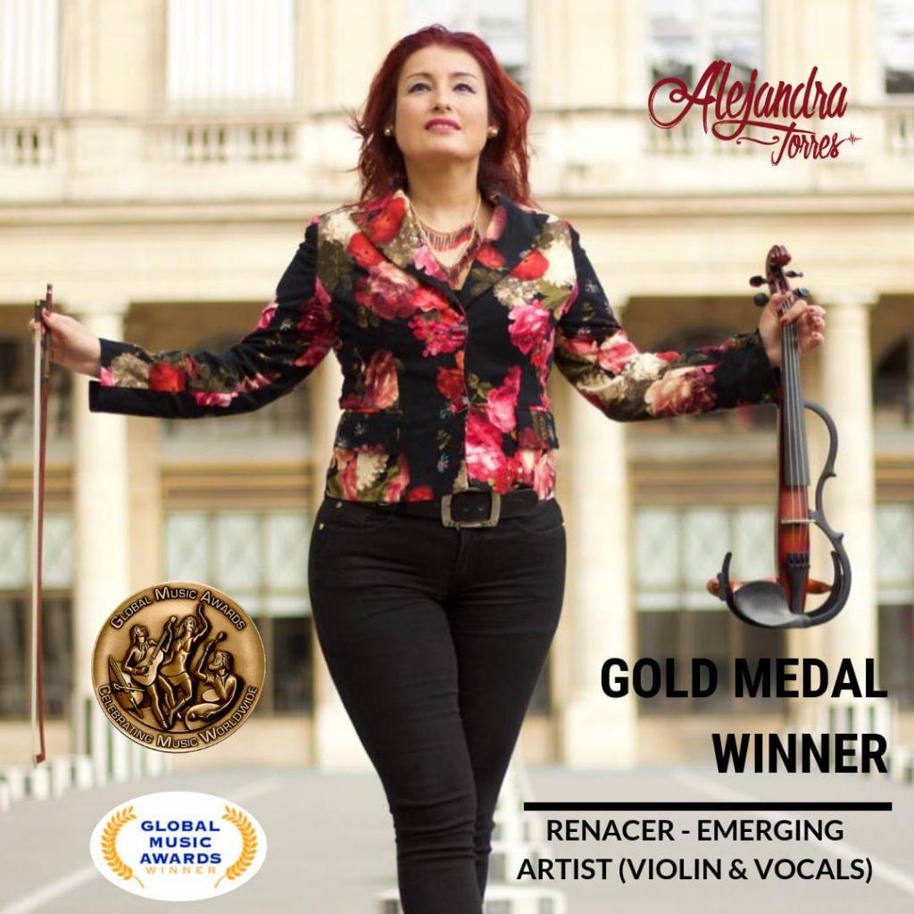 La violinista Alejandra Torres es galardonada con Medalla de Oro en los Global Music Adwards