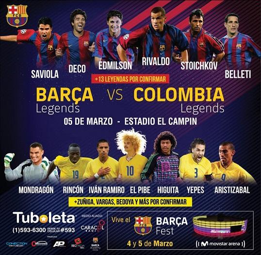 BARCA LEGENDS FC llegan por primera vez a Colombia